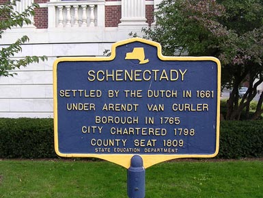 histroic marker onSchgneectady foubding